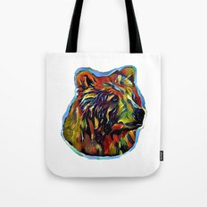 Kaleidoscope Bear on White Tote Bag