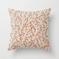 Red & White Berry Branch… Throw Pillow