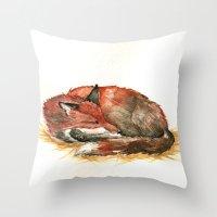 Sleeping Fox Watercolor Throw Pillow