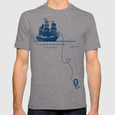 Long Distance Love Mens Fitted Tee Tri-Grey SMALL