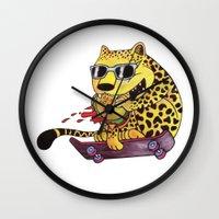 Skating Cheetah Wall Clock
