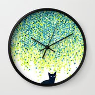Cat In The Garden Under … Wall Clock