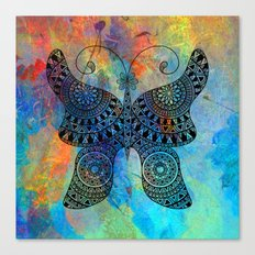 Drawn Butterfly on Colors Canvas Print