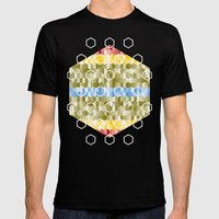 Hexagon pattern Mens Fitted Tee Black SMALL