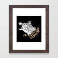 Wolf Protector (Black N … Framed Art Print