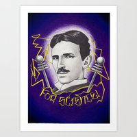 Tesla For Science! Art Print