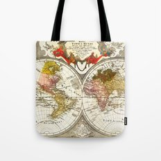 Map of the World on a Hemisphere Tote Bag