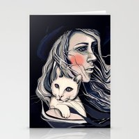Girl and cat Stationery Cards