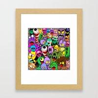 Monsters Doodles Characters Saga Framed Art Print