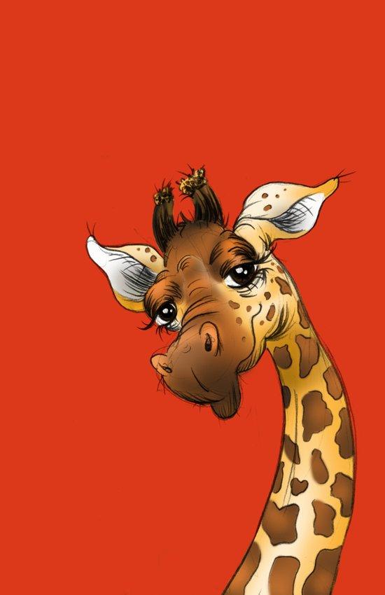 Red Giraffe! Art Print
