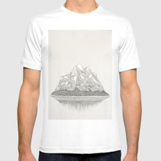 The Mountains and the Woods White Mens Fitted Tee SMALL