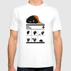 Brain Damage SMALL White Mens Fitted Tee