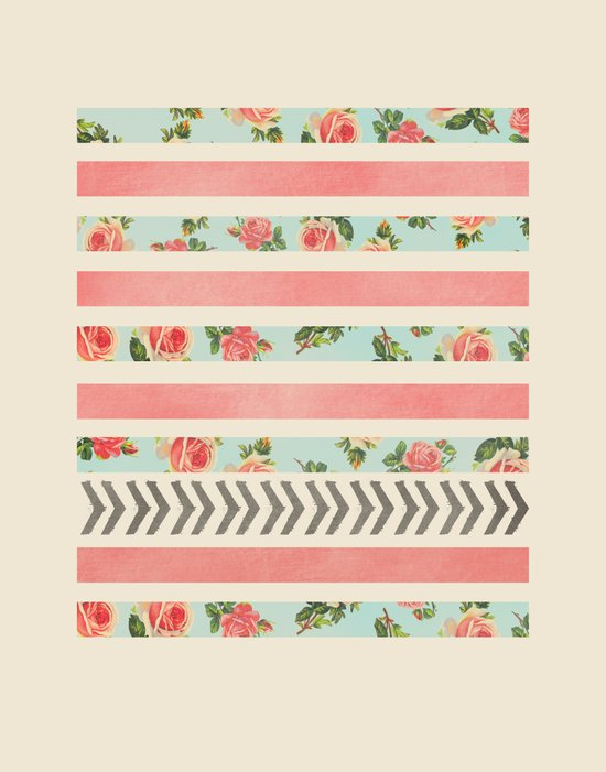 FLORAL STRIPES AND ARROWS Art Print