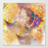 profile woman and flowers Canvas Print