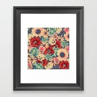 SEPIA FLOWERS -poppies, pansies & sunflowers- Framed Art Print
