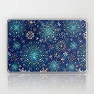 Blue Gold Snowflakes  Laptop & iPad Skin
