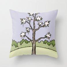 White Flower Tree Throw Pillow