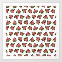 Chunks Of Watermelon Art Print
