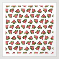 Chunks of Watermelon Art Print