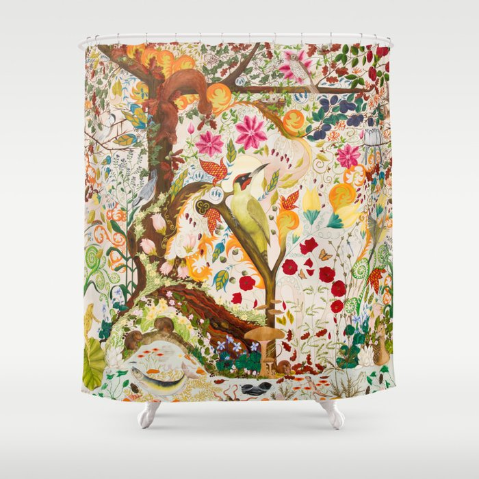 Fantasy jacobean forest shower curtain by amethystopalart for Fantasy shower curtains