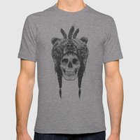 Dead shaman (b&w) Mens Fitted Tee Tri-Grey SMALL