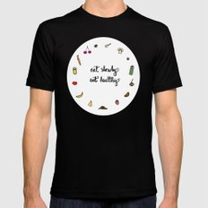 Eat slowly, eat healthy. A PSA for stressed creatives. Black SMALL Mens Fitted Tee