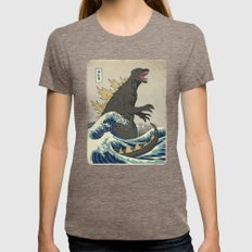 The Great Godzilla Off K… Womens Fitted Tee Tri-Coffee MEDIUM