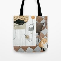 Breakfast and Fox Tote Bag