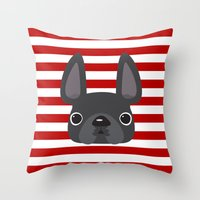 Grey On Red Stripes Throw Pillow