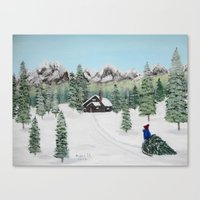 Christmas on the mountain Canvas Print