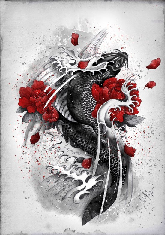 Black Koi Canvas Print