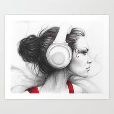 MUSIC - pencil portrait girl in headphones Art Print
