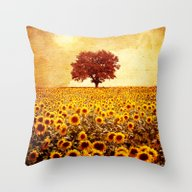 Lone Tree & Sunflowers F… Throw Pillow