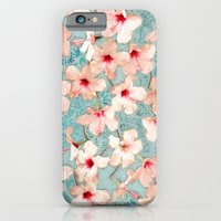 iPhone Cases featuring Shabby Chic Hibiscus Patchwork Pattern in Peach & Mint by micklyn
