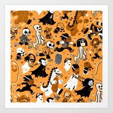 Alt Monster March (Orange) Art Print
