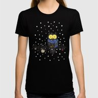Owl In The Snow Womens Fitted Tee Black SMALL