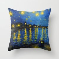 Starry Night Over Cardiff Bay Throw Pillow