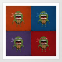 Art Print featuring Screaming Turtles by That Design Bastard