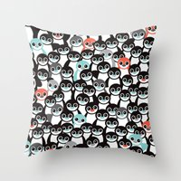 Quirky Penguin Winter Wo… Throw Pillow