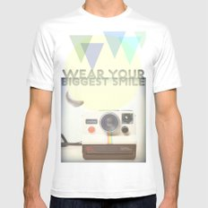 WEAR YOUR BIGGEST SMILE SMALL White Mens Fitted Tee