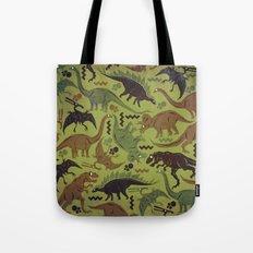 Camouflage Dinosaur Geometric Pattern Tote Bag