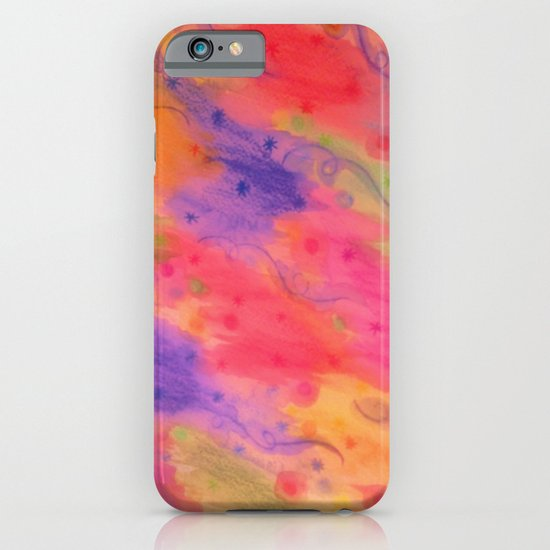 SEEING STARS 3 - Peach Pink Pretty Starry Sky Abstract Watercolor Painting Lovely Feminine Pattern iPhone & iPod Case