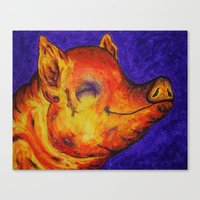 Pig, Happy Canvas Print