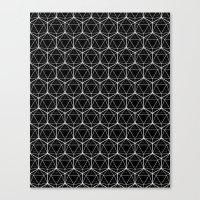Icosahedron Pattern Blac… Canvas Print