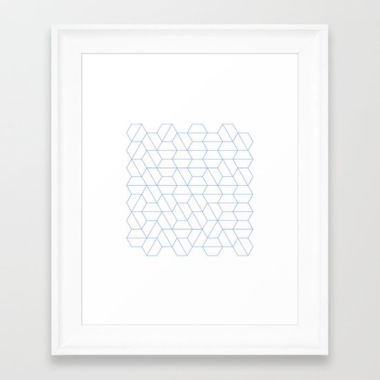 #329 Hexagon fields – Geometry Daily Framed Art Print