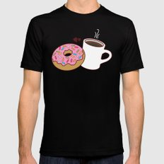 Coffee and Donut Forever Mens Fitted Tee Black SMALL