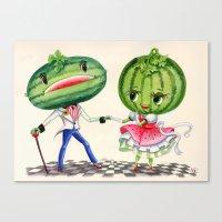 Kitschy Cute Watermelon Couple Canvas Print