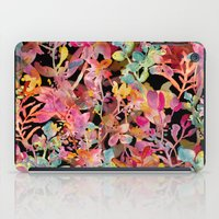watercolor meadow black iPad Case
