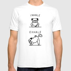 Inhale Exhale Pug White SMALL Mens Fitted Tee
