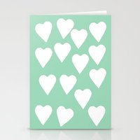 Mint Hearts Stationery Cards
